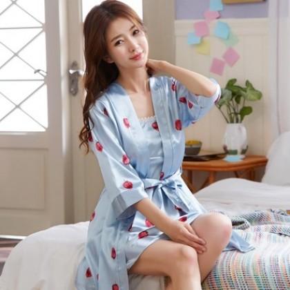 Women Strawberry Fruit Prints Silk Two Piece Night Gown Loose Fit Sleepwear