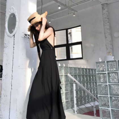 Women Flowy Summer Dress Tie Up Bare Back Fun Young Adult Evening Clothing